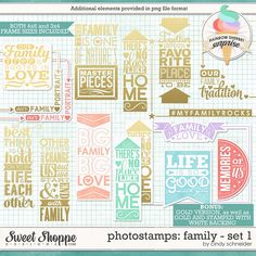Sweet Shoppe Designs :: Elements :: Word Art & Titles :: Cindy's Photostamps - Family Set 1 by Cindy Schneider