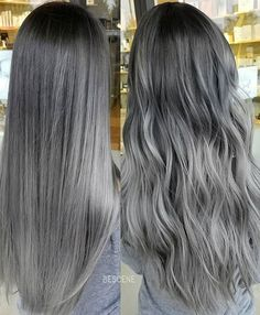 DOLPHIN GRAY • STRAIGHT & TOUSLED. I posted a video of this a few days ago. This was done on Asian hair level 2! Notice how long and shiny her hair is! I used all @schwarzkopfusa for this color and @brazilianbondbuilder #b3 added. Heres the formula! base: 4-13,5-12,E-1,0-22,1-1 Mid: 7-12,8-11,E-1,0-22,1-1 ends: 8-11,9.5-1, SILVER, 0-11 all 7vol.! #BESCENE