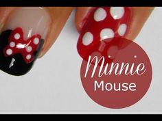 Disney Minnie Mouse nail art tutorial video how to Minnie Mouse Nail Art, Mickey Nails, Love Nails, How To Do Nails, Pretty Nails, Nail Art Diy, Diy Nails, Diy Art, Simple Nail Art Designs