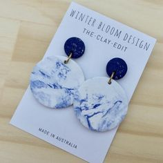 Navy & Ocean Marble 2 Drop Dangle- Winter Bloom Design