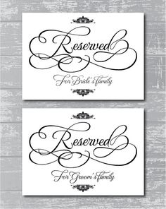 Reserved For Family Signs 5x7 Diy Wedding By Creativepapier 10 00