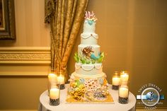 Beach Theme Bat Mitzvah Cake with Mermaids by Sweet Dreams Photo Video - mazelmoments.com