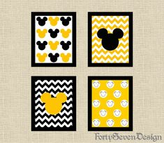 Set of 4 Mickey Mouse Black, White, Red & Yellow Chevron Printable Wall Art from Forty Seven Design Mickey Mouse Bathroom, Mickey Mouse Room, Mickey Mouse Classroom, Disney Classroom, Disney Home Decor, Disney Diy, Disney Crafts, Chevron Printable, Printable Wall Art