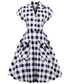 9e3886485cf online shopping for ZAFUL Women s Vintage Cap Sleeve V Neck Plaid Swing  Dress With Pockets from top store. See new offer for ZAFUL Women s Vintage  Cap ...