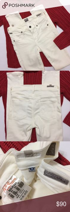 """NWOT Citizens of Humanity """"Avedon Slick"""" Jegging These jeggings are SUPER soft Avedon skinny leg low rise white slick they have Faux front pockets and are Super Stretchy!!!!!! I have the tags, they are new Never worn, But there was a water type mark/line on one of the back pockets so I washed them in cold and hung them to dry(the mark is gone and they look Fabulous!!!) size 28 they measure(when waist stretched completely)about 16.5"""" and (again stretched) inseam is about 32""""( they fit my…"""