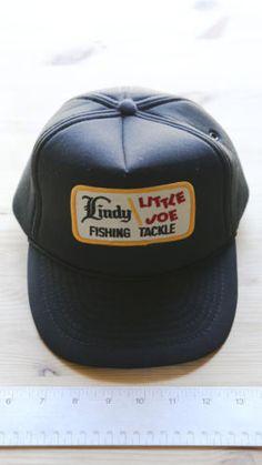 Vintage-Trucker-Hat-Lindy-Little-Joe-Fishing-Tackle-Snapback-Black
