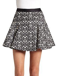 Filigree-Print Flounced Skirt