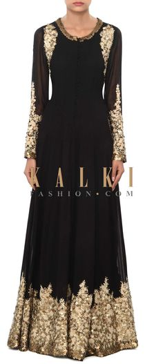 Buy Online from the link below. We ship worldwide (Free Shipping over US$100) Price- $529 Click Anywhere to Tag http://www.kalkifashion.com/black-gown-embellished-in-thread-and-sequin-embroidery-only-on-kalki.html