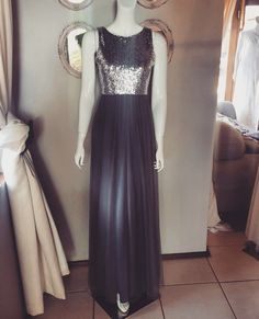 Gelique Jane Dress - simplistic neckline with a charcoal sequins bodice & a charcoal tulle skirt overlay. Bodice, Neckline, Overlay, Charcoal, Tulle, Sequins, Bridesmaid Dresses, Couture, Formal Dresses