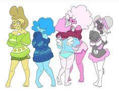 "Blue Pearl💙💎 on Instagram: ""Hello my sweet gemlings - - - - - - - Sweaters - - - - - Art by @jokko_art"" Daddys Little Monster, Little Monsters, Steven Universe Au, Rainbow Quartz, Blue Pearl, Blue And White, Yellow, Random Stuff, Cartoons"