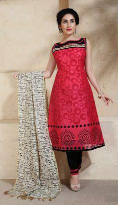 USD 52.4 Pink Cotton Silk Resham Work Churidar Salwar Suit 30704
