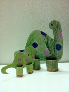 Toilet Paper Roll Dinosaur Craft Used my Cricut to cut out cut dinos for the kids to color and glue on the legs.