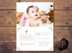 invitacion bautizo con foto chica, baptism girl invitation printable, bautizo…