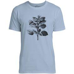 Mintage Wild Nettle Illustration Mens Fine Jersey T-Shirt (Azure)
