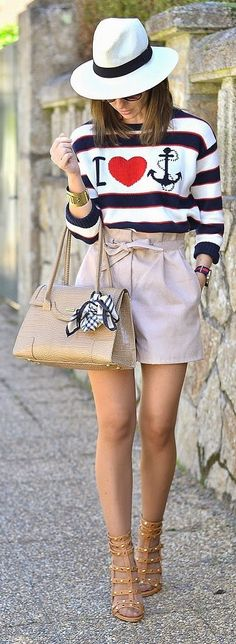 Nude High Waisted Shorts Outfit Idea
