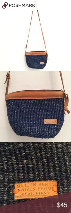 "MADE IN KENYA Handmade Crossbody Bag LIKE NEW Woven from fiber by underprivileged women in Kenya! Super cute and solid bag! 40"" strap, 20"" strap drop. 10"" Width, 13"" length. Bags Crossbody Bags"