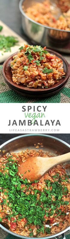 Spicy Vegan Jambalaya This easy vegan recipe for jambalaya is full of fresh produce and gets a spicy kick from fresh jalapeños! Ready in under an hour - the perfect healthy vegan recipe for busy weeknights. Vegan Recipes Easy, Veggie Recipes, Whole Food Recipes, Vegetarian Recipes, Cooking Recipes, Vegan Foods, Vegan Dishes, Vegan Jambalaya, Food Porn