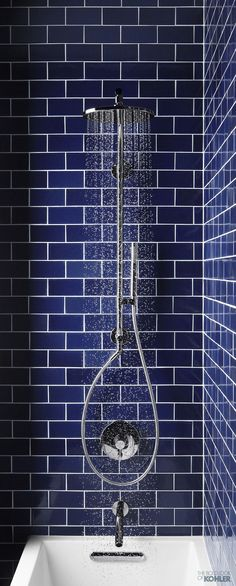 Blue subway tile bathroom from Kohler Blue Subway Tile, Blue Tiles, Bathroom Renos, Bathroom Tiling, Bathroom Remodelling, Washroom, Bathroom Fixtures, Blue Home Decor, Beautiful Bathrooms