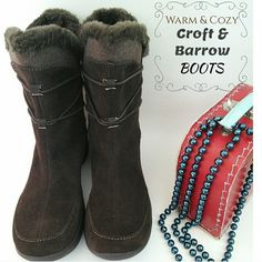 HP 10/17 Warm & Cozy CROFT & BARROW boots this beautiful brown color boots is leather and man-made, with faux fur on top trim. brand new Croft & Barrow! great for the cold days. keeps your feet cozy n warm. Croft & Barrow Shoes