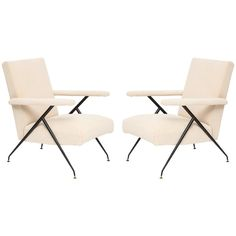 Silvio Cavatorta Enameled Pair of White Metal Leg Reclining Chairs, Italy, 1950s | From a unique collection of antique and modern chairs at https://www.1stdibs.com/furniture/seating/chairs/
