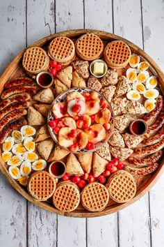 With waffles, fruit, eggs, scones, and meat. Breakfast And Brunch, Breakfast Platter, Breakfast Recipes, Party Food Platters, Charcuterie And Cheese Board, Charcuterie Ideas, Saturday Brunch, Happy Saturday, Pumpkin Waffles