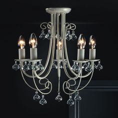60.00 Shabby Chic Light Fitting Ceiling Cream Brushed Gold Effect 5 Light Chandeliers | eBay