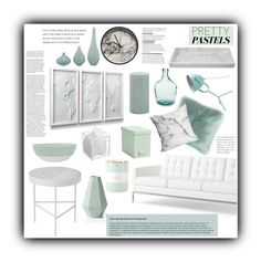 """Aqua Pastels"" by deisyvegaa ❤ liked on Polyvore featuring interior, interiors, interior design, home, home decor, interior decorating, Knoll, canvas, Kate Spade and Holly's House"