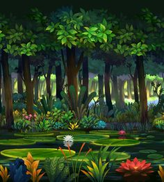 View an image titled 'The Forest Lagoon Art' in our Odin Sphere art gallery featuring official character designs, concept art, and promo pictures. Fantasy Forest, Magic Forest, Fantasy Art, 2d Game Background, Animation Background, Environment Concept Art, Environment Design, Fantasy Landscape, Landscape Art