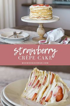 This beautiful crepe cake recipe is perfect for birthdays, showers, or Valentine. This beautiful crepe cake recipe is perfect for birthdays, showers, or Valentine's Day! This impr Apple Recipes, Sweet Recipes, Baking Recipes, Pancake Recipes, Breakfast Recipes, Strawberry Crepes, Strawberry Desserts, Strawberry Crepe Cake Recipe, Just Desserts