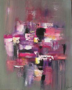 Peinture acrylique multicolore Gris Rose Violet Jaune Noir Blanc sur châssis toile coton : Peintures par stephanie-menard