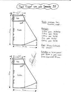 Esquema de modelagem de Saia Evasê com Pala tamanho 38.