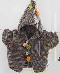 Детский жакет с капюшоном, вязаный спицами