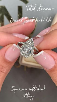 Pear Shaped Engagement Rings, Engagement Ring Shapes, Beautiful Engagement Rings, Halo Engagement, Teardrop Engagement Rings, Pear Shaped Rings, Engagement Rings For Women, Big Diamond Wedding Rings, Unique Wedding Rings