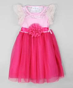 Look at this White & Hot Pink Lace Flower Dress - Toddler & Girls on #zulily today!