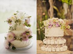 botanical style wedding cakes via Indulgy left and via Inspired Design.tumblr right