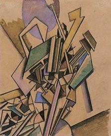 Edward Wadsworth, Estudio vorticista, de 1914. Tinta, carboncillo, acuarela y gouache sobre papel. 33,6 x 27,3 cm. ► Conoce más en Museo Thyssen-Bornemisza.