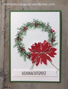 Stempelmittwoch November 2016 Stampin Up, Stempelmittwoch, Durch die Blume, Drauf und dran, Winter Wishes, Gestickte Weihnachtsgrüße, Weihnachtskranz, Weihnachtspost