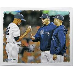 Andy Pettitte & Mariano Rivera Dual Signed Mound Close Up Handing Ball to Pettitte and Jeter 20x24 Canvas