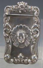 Antique Embossed Sterling Silver Native American Indian Match Safe Vesta NR yqz