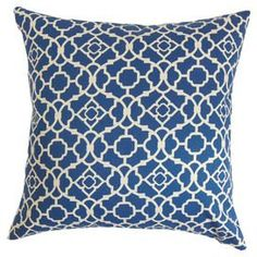 Pillow Cover Cushion 20x20 blue garden gate  geometric pattern