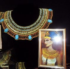 Handcrafted Egyptian Queen Cleopatra Statement Necklace 7 Scarab Turquoise Blue Red & Gold Tones