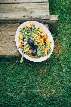 Anya's zucchini spaghetti with pumpkin seed pesto + peaches - The First Mess blog