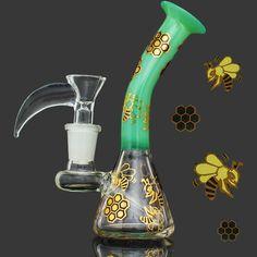 2017 Lovely bee glass bongs Vase Perc Unique bong recycler glass oil rigs water pipe bongs 14mm joint beaker bongs