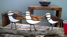 Stained glass Sandpipers on Driftwood Stained Glass Ornaments, Stained Glass Birds, Faux Stained Glass, Stained Glass Designs, Stained Glass Panels, Stained Glass Projects, Stained Glass Patterns, Leaded Glass, Mosaic Glass