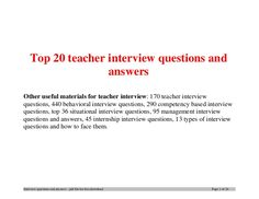 answers to teacher interview questions