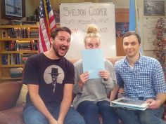 Wil Wheaton, Kaley Cuoco and Jim Parsons on the set of The Big Bang Theory