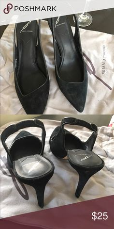 B by Brian Atwood Black sling back heels. 10 Like New. Worn once for one hour.  Size 10. Black. B Brian Atwood Shoes Heels