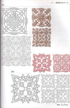 Hooked on crochet: motifs Filet Crochet, Grannies Crochet, Crochet Dollies, Freeform Crochet, Crochet Diagram, Crochet Squares, Crochet Chart, Thread Crochet, Irish Crochet