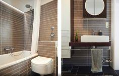 Modernes Badezimmer in WG in Hamburg Altona. Dunkle Fließen und weiße Bademöbel.