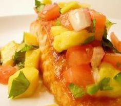 Broiled Salmon with Mango Jalapeno Mint Salsa